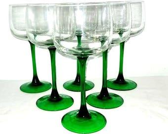 Luminarc Green Crystal Stemware J G Durand France 1960s