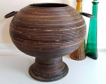 """Vintage Bamboo Plant Stand, Bohemian Planter, 15"""" T, Wicker Planter, Rattan Basket, Boho Decor, Cottage Chic, Beehive Plant Stand, 1960s"""