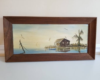 """Vintage Oil on Board Painting, Landscape Painting, Still Life, Painting, 23"""" X 11"""",Artist Signed, Dwyer, Framed Painting,Fish Camp, 1960s"""