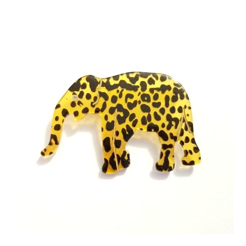 Vintage Leopard Print Lucite Elephant Brooch image 0