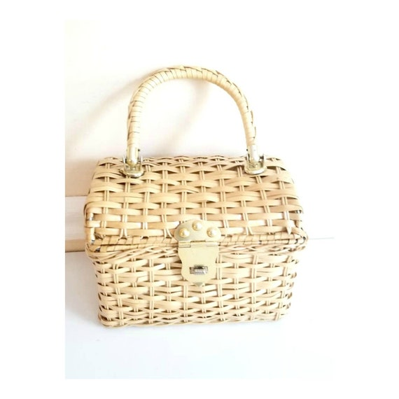 Vintage Natural Wicker Bag with Gold Accents and W
