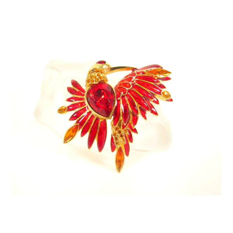 Vintage Enamel Jelly Belly and Crystal Bird Brooch by Graziano image 0