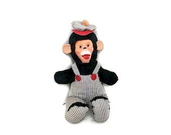 Vintage Rubber Face Chimp in Overalls, Mr. Bim 1950s