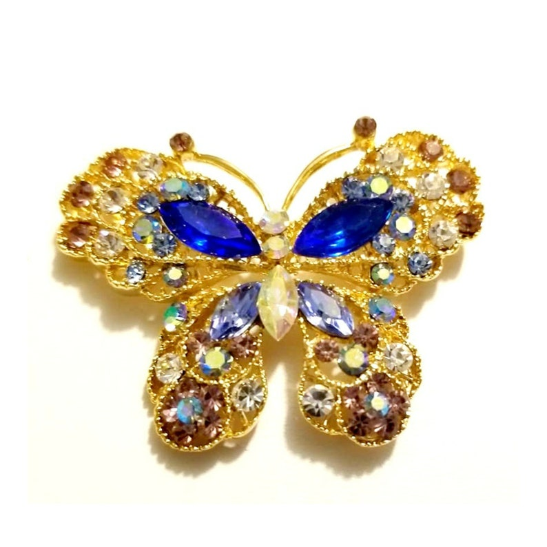 Vintage Crystal Gold Tone  Butterfly Brooch image 0