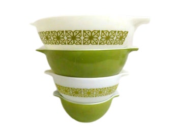 Pyrex Green Autumn Floral Verde Cinderella Mixing Bowl Set of 4 , 4 Qt, 444, 443, 442 and 441