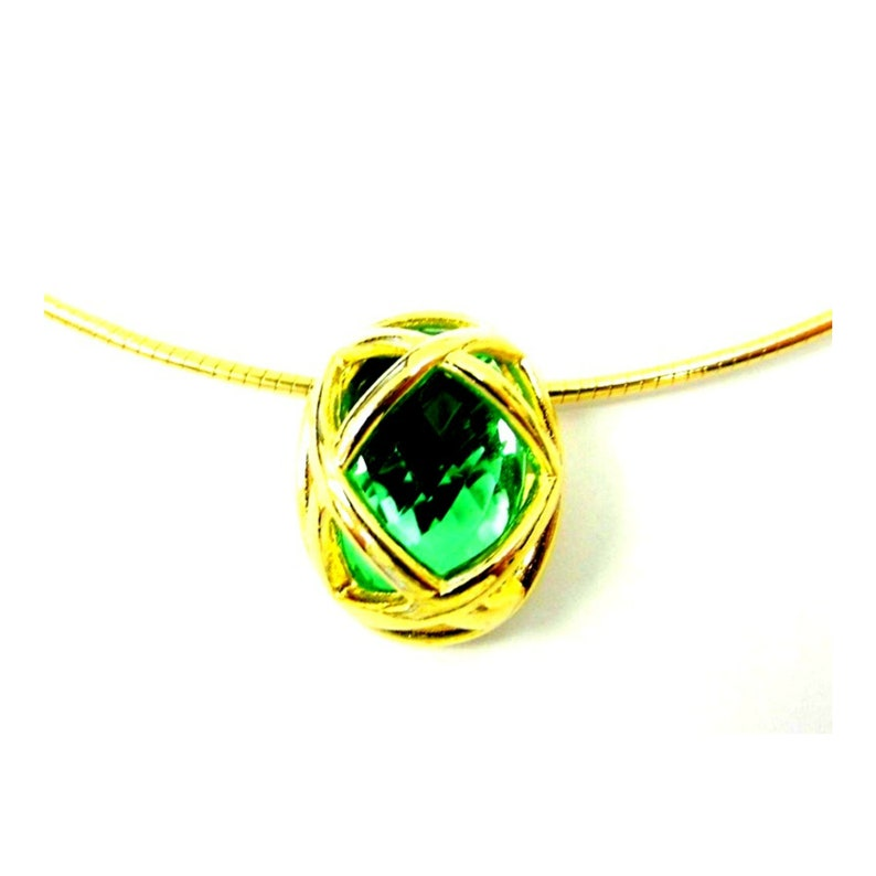 Vintage Joan Rivers Simulated Peridot Gold Tone Necklace image 0