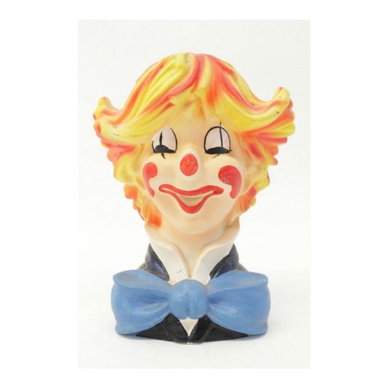 Vintage Circus Clown Head Planter by Relpo Japan 1950s Clown image 0