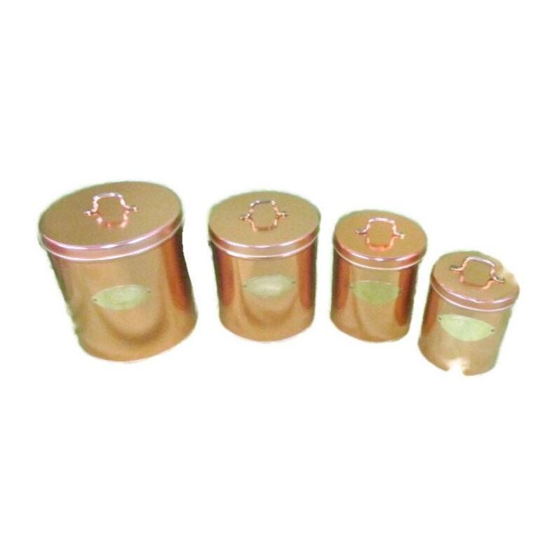 Vintage Copper Canister Set image 0