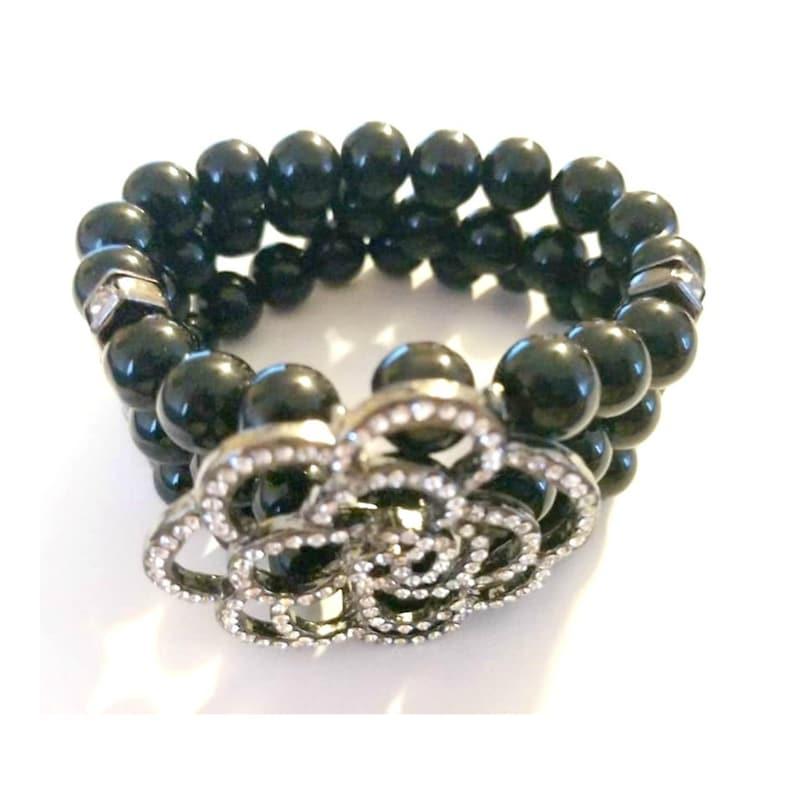 Vintage Crystal Flower Glass Beaded Bracelet image 0