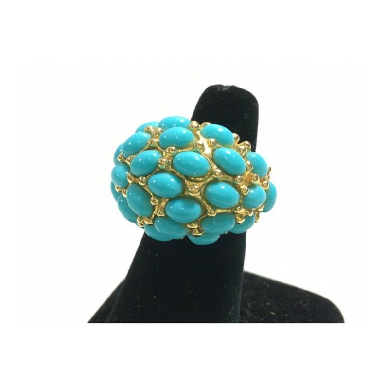 KENNETH JAY LANE Turquoise Cabachon Cocktail Ring Size 6.5 image 0