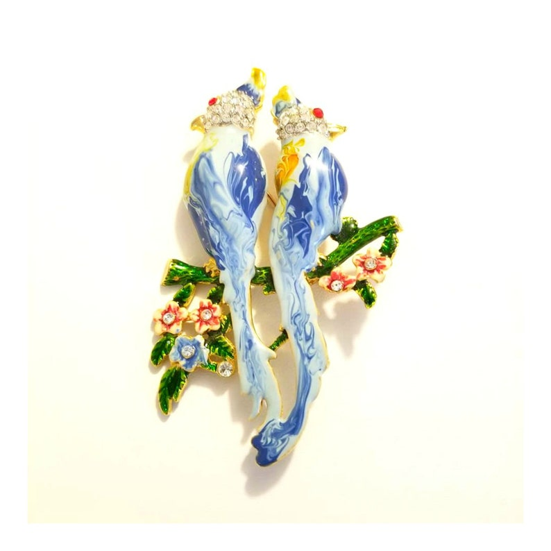 Vintage Blue Enamel and Crystal Lovebirds Brooch LARGE image 0