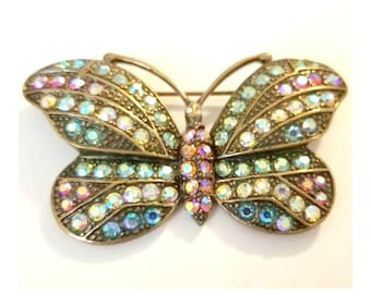 """Vintage KIRKS FOLLY AB Crystal Butterfly Brooch Signed 3"""" Wide"""