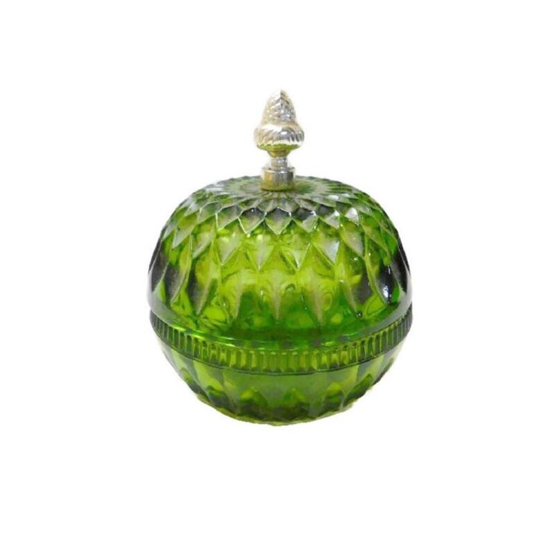 Green Diamond Point Depression Glass Candy Box with Acorn Knob image 0