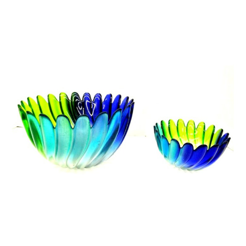 Vintage Art Glass Peacock Colored Console Bowls image 0