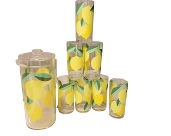 Vintage Acryllic Lemon Pitcher Drinkware Patio Set by HJ Stotter Inc