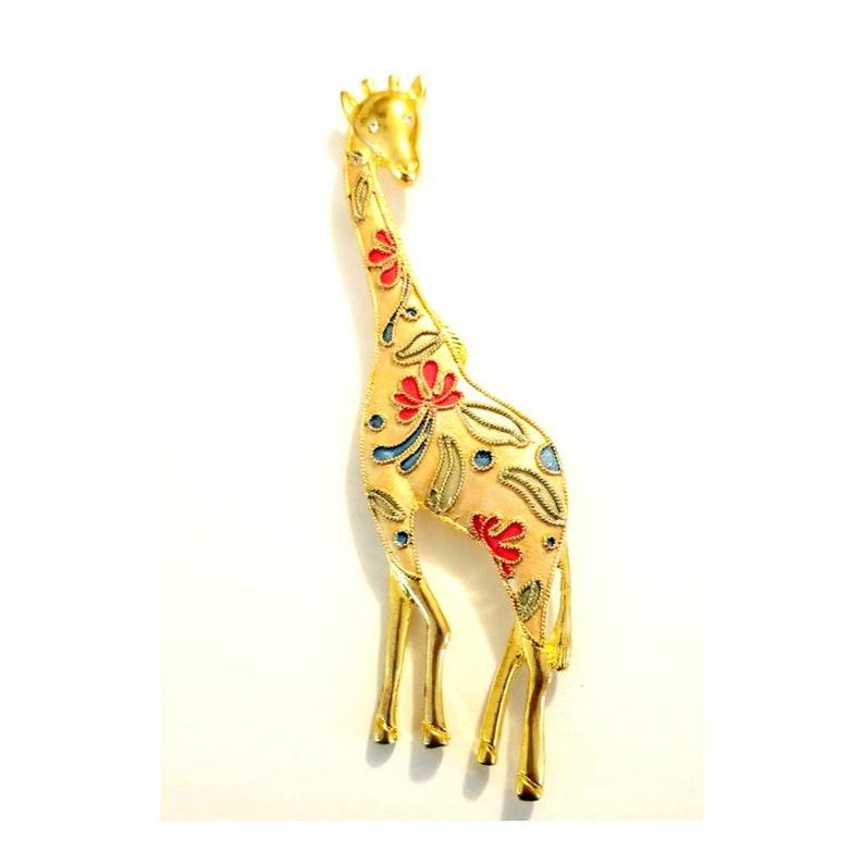 Vintage Gold Tone Giraffe Brooch With Crystals Giraffe image 0
