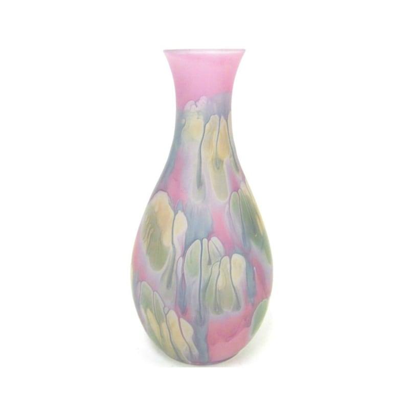 Reuven Nouveau Art Glass Amethyst Vase Hand Painted 9 image 0