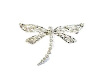 Vintage Marvella Crystal Dragonfly Brooch