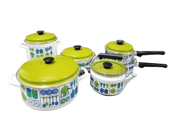 Retro Enamel Blue & Green Kitsch Cookware Set with Stock Pot and Tea Kettle