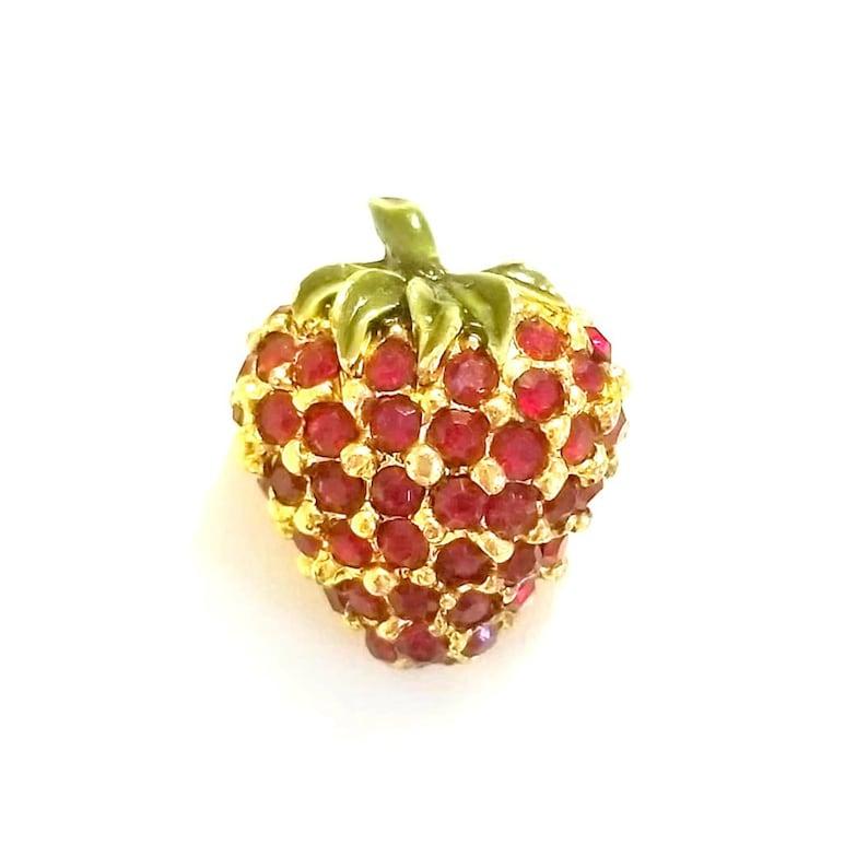 Vintage Crystal Strawberry Brooch image 0
