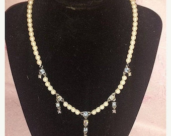 Vintage Faux Pearl Necklace with Blue Crystals