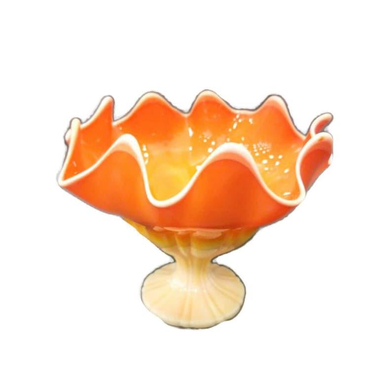 L E Smith Bittersweet  ORANGE SIMPLICITY Slag Glass Pedestal image 0