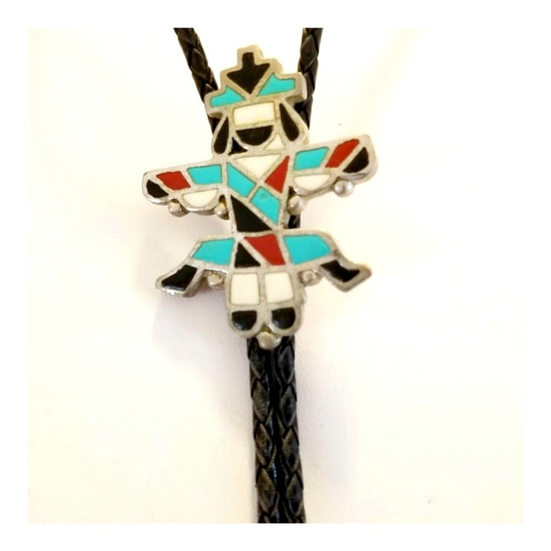 Vintage Zuni Kachina Silver Inlaid Turquoise and Red Coral image 0
