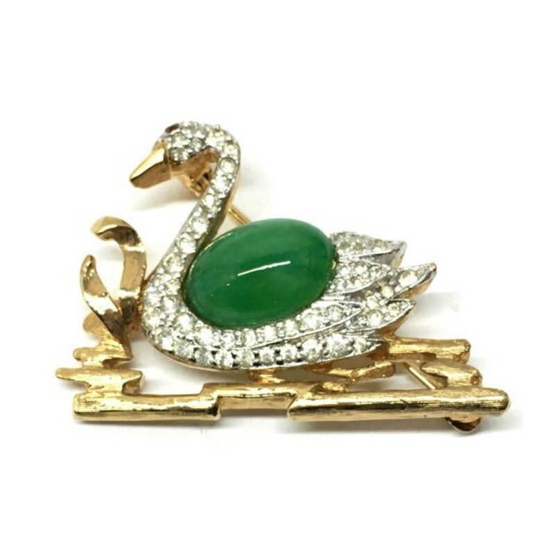 Vintage Panetta Art Glass Jelly Belly Swan Brooch with image 0