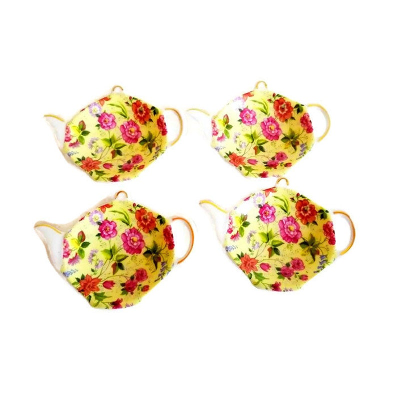 Vintage Pink and Yellow Chintz Teapot Tea Bag Holder by Baum image 0