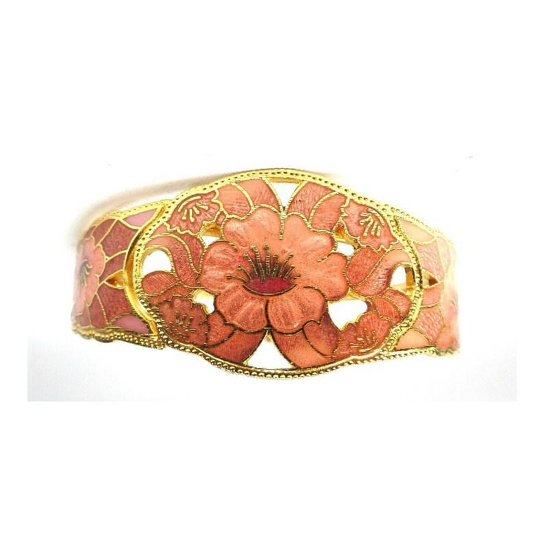 Vintage Floral Enamel Cloisonne Hinged Bangle Bracelet image 0