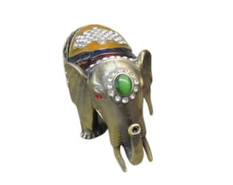 Vintage Enamel ELEPHANT Trinket Box with Rhinestones and Stones,  Pill Box