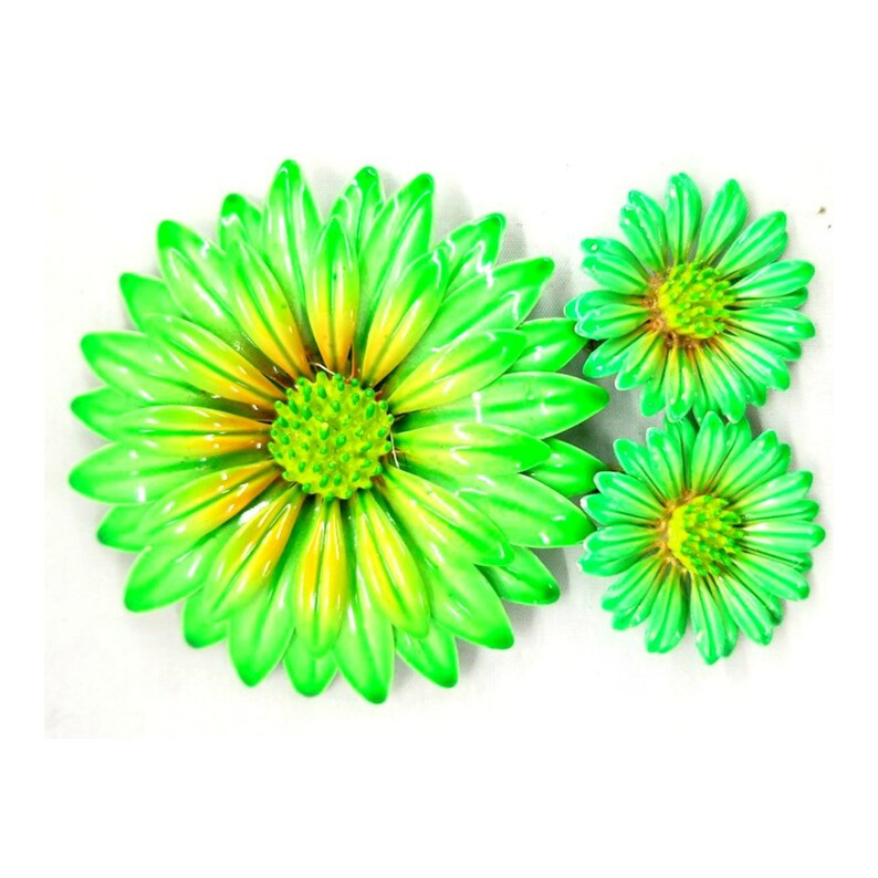 Vintage Green and Yellow Enamel Flower Brooch & Earring Set image 0