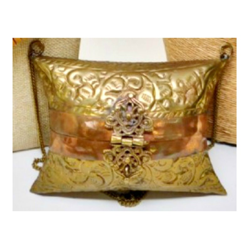 Vintage Brass and Copper Metal Pillow Purse Minaudiere with image 0