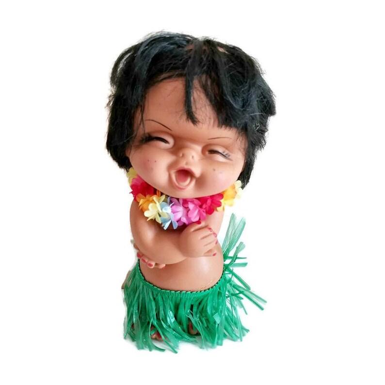 Vintage Rubber Hawaiian Hula Doll 10 Tall image 0