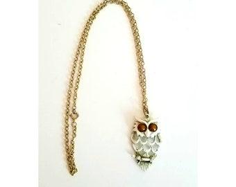 Vintage White Enamel Owl Necklace  1970s