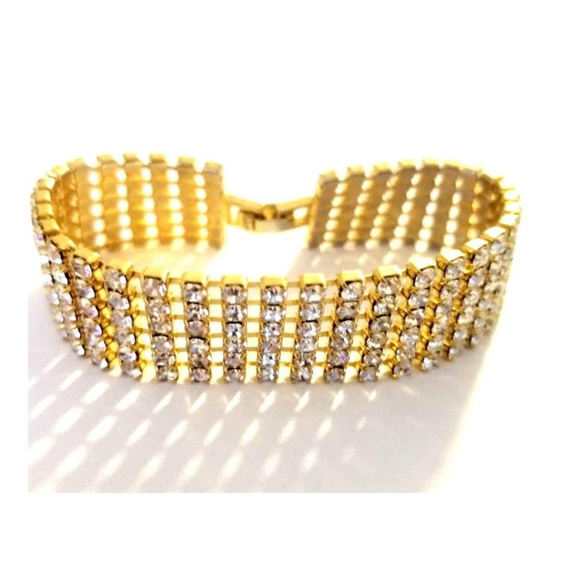 Art Deco Gold Crystal Bracelet image 0