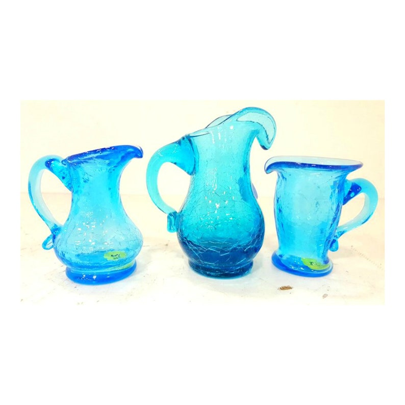 Vintage Hand Blown Blue Crackle Glass Pitchers with Handles image 0