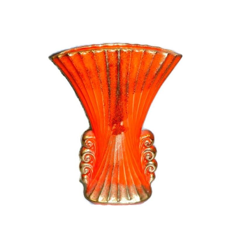 Art Deco Pottery Fan Vase 13 Tall image 0