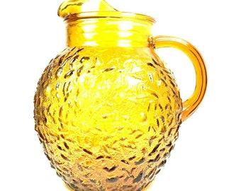 Amber Glass Milano Lido Pitcher by 32Anchor Hocking
