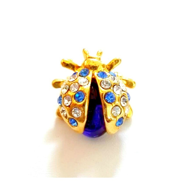Vintage Blue Crystal Lady Bug Brooch Lady Bug Scatter Pins image 0
