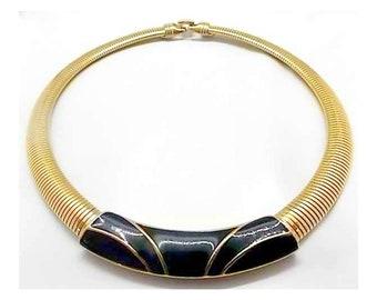 Vintage Trifari Omega Black Enamel Collar Necklace