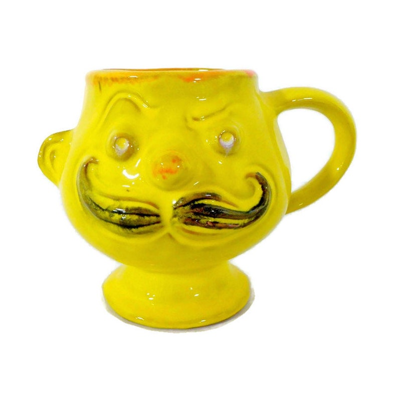 Vintage Yellow Mustache Man Mustache Mug by Pacific Stoneware image 0