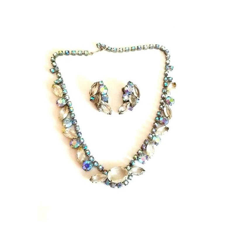 Vintage Aurora Borealis Rhinestone Necklace Set AB Necklace image 0