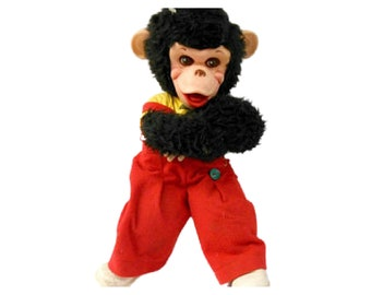 Vintage RUSHTON Rubber Face Monkey with Red Overalls, Mr. Bim, Zippy the Chimp, 1950s Toys