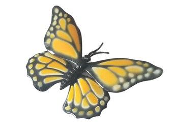 Vintage Enamel Monarch Butterfly Brooch LARGE