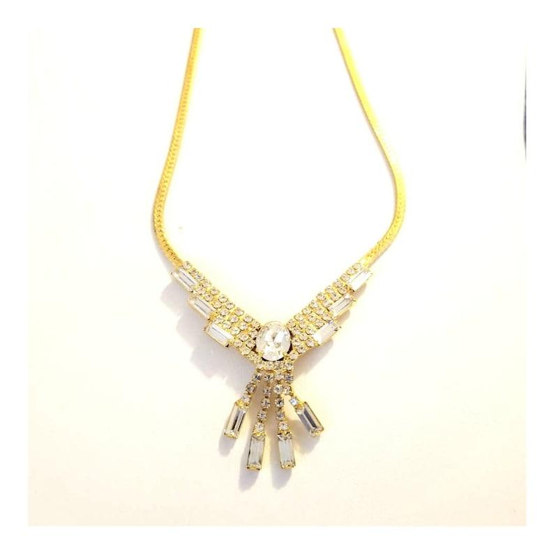 Art Deco Style Rhinestone Bib Necklace with SERPENTINE Chain image 0