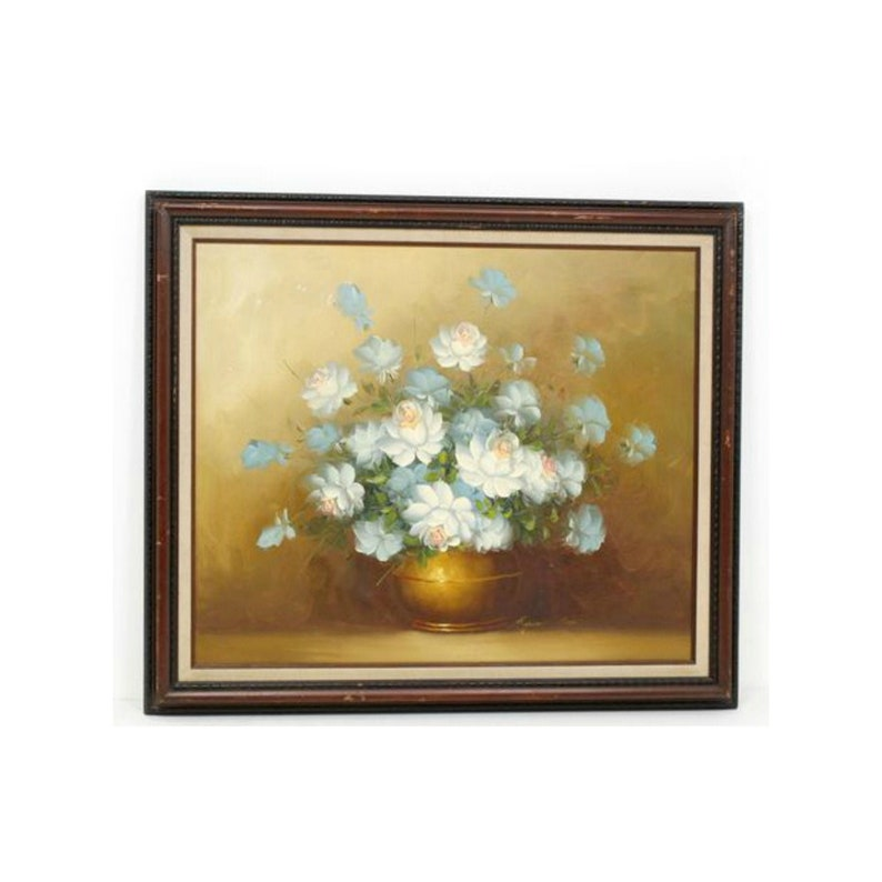 Vintage Floral Still Life Oil Painting Signed by Robert Cox image 0