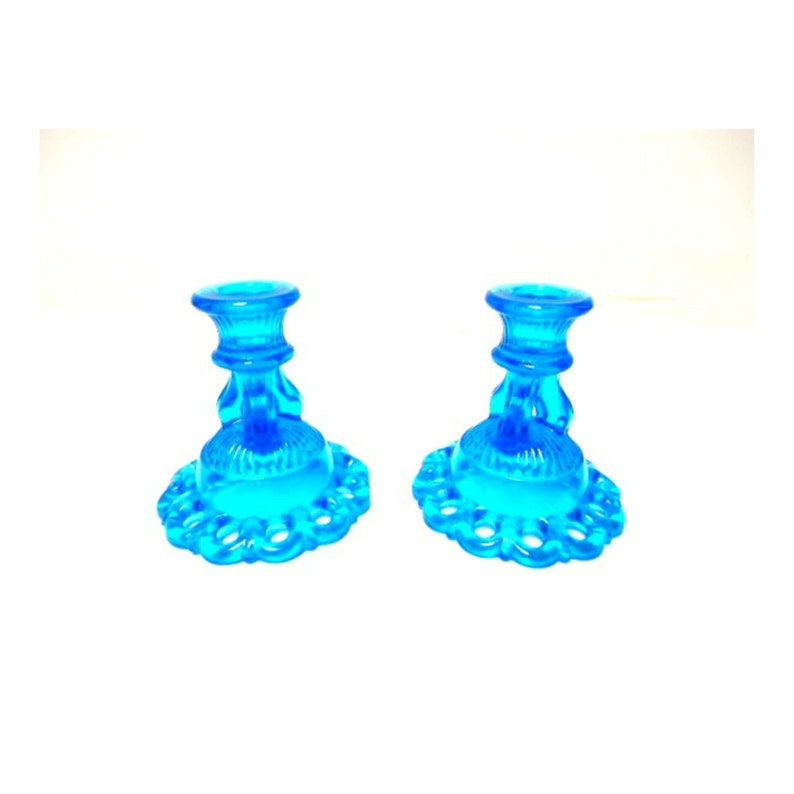 Westmoreland Glass Blue Candle Holders Doric Lace 1960s image 0