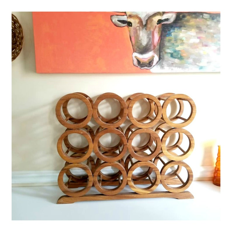 Mid Century Wooden 12 Bottle Wine Rack image 0