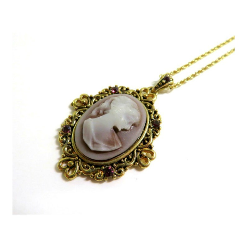 Vintage Amethyst Cameo Pendant Necklace Gold Filigree with image 0